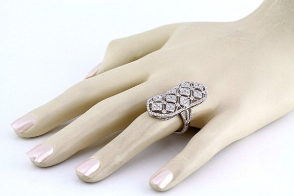 2.93tcw Round Diamonds in 18K White Gold Filigree Knuckle long Ring