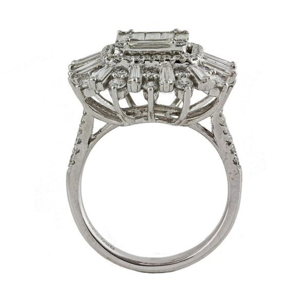 2.43tcw Baguette & Round Diamonds in 14K White Gold Anniversary Cocktail Ring