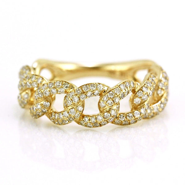 0.78ct Pavé Round Diamonds in 14K Gold Cuban Curb Link Band Ring