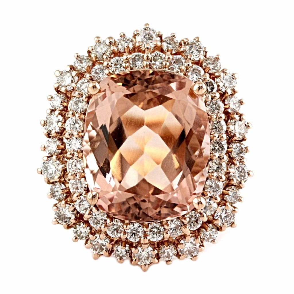 11.78tcw Cushion Morganite & Diamonds in 14K Rose Gold Anniversary Ring