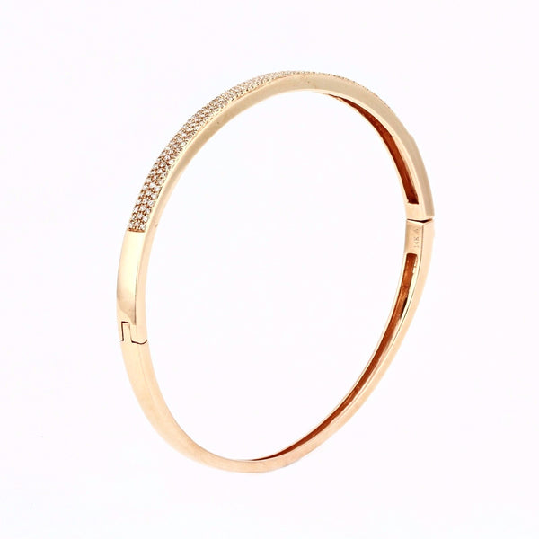 0.69ct Micro Pavé Diamonds in 14K Gold Bangle Bracelet - 6.5""