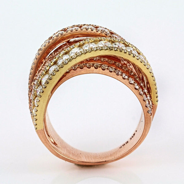 3.03tcw Round Diamonds in 14K Multicolor Gold Overlapping Cocktail Ring