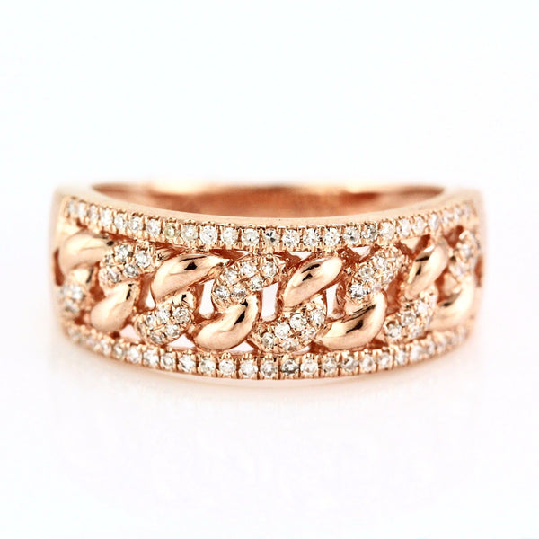 0.25ct Pavé Round Diamonds in 14K Gold Cuban Curb Link Inlay Band Ring