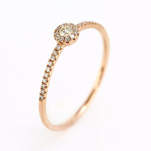 0.15ct Pavé Round Diamonds in 14K Gold Solitaire Halo Ring