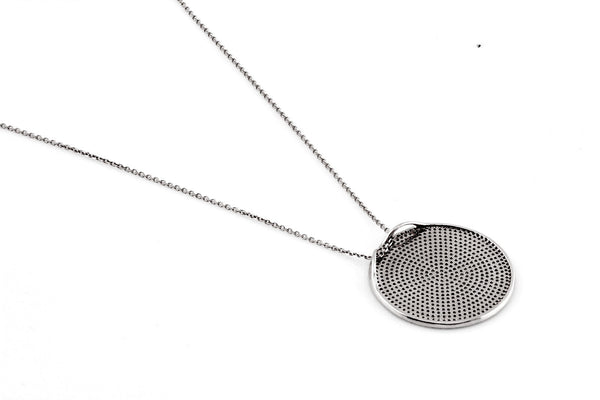 1.84ct Micro Pavé Round Diamonds in 14K Gold Round Diamonds Large Disc Pendant Necklace