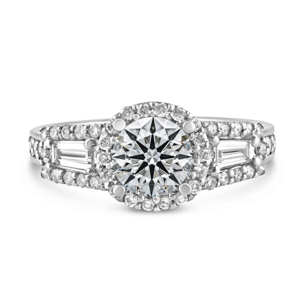 0.73ct Pavé Side Diamonds in 14K White Gold Semi-Mount 3Stone Halo Ring