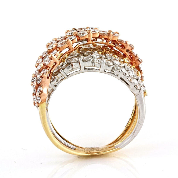3.99ct Round Diamonds in 14K Gold Overlapping Floral Anniversary Ring