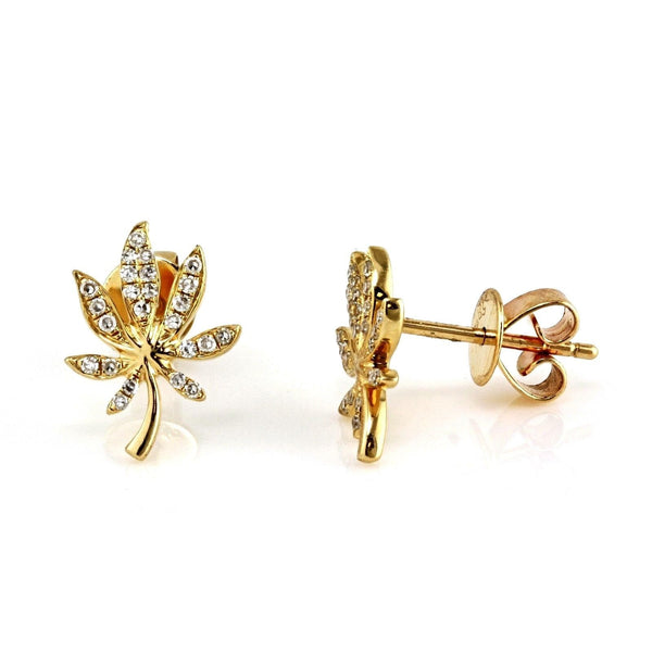0.13ct Round Pavé Diamonds in 14K Gold Cannabis Leaf Stud Earrings
