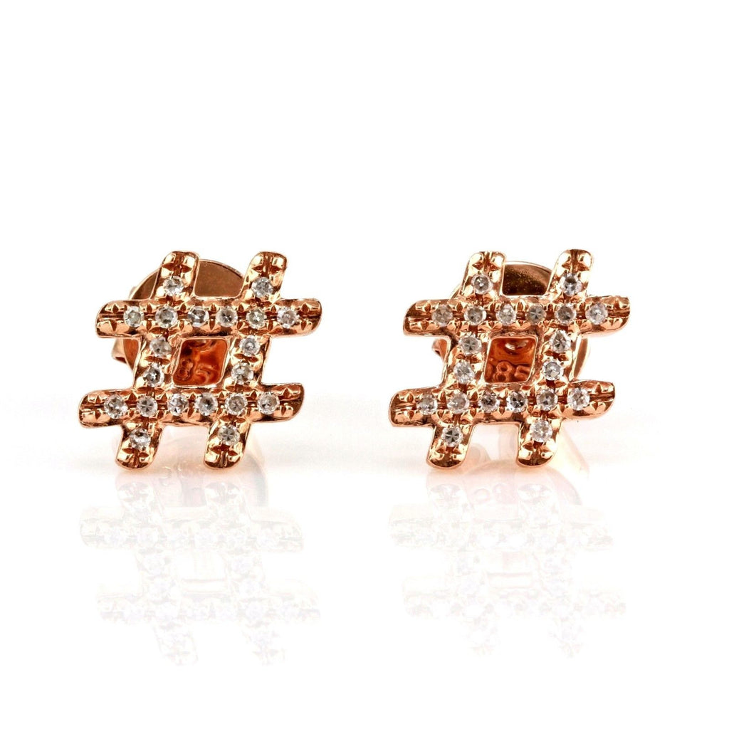 0.12ct Round Pavé Diamonds in 14K Gold Hashtag Stud Earrings