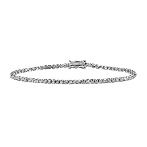 1.00ct Round Diamonds in 18K White Gold 2.5mm Tennis Bracelet - 7""