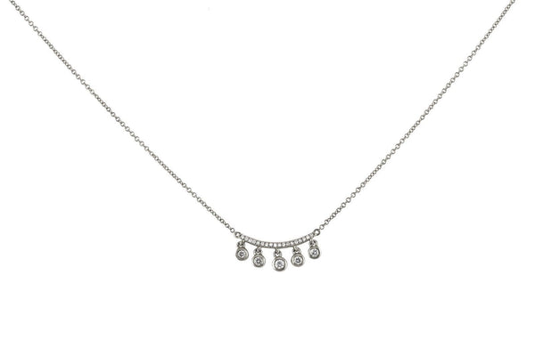 0.20ct Round Diamonds in 14K Gold Curved Bar Dangling Charm Necklace