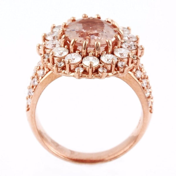 4.85tcw Oval Morganite & Diamonds in 14K Rose Gold Wedding Engagement Ring