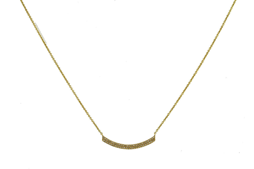 0.16ct Micro Pave Diamonds in 14K Gold Curved Bar Charm Necklace