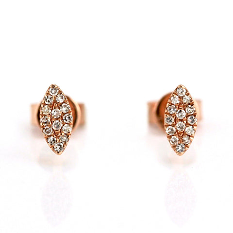 0.07ct Single Cut Diamond in 14K Gold Mini Leaf Stud Earrings
