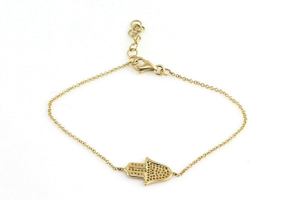 0.15ct Pavé Diamonds in 14k Gold Hamsa Hand of Fatima Charm Bracelet - 7""