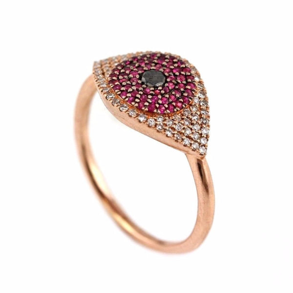 0.41tcw Pavé Diamonds & Ruby in 14K Rose Gold Evil Eye Statement Ring