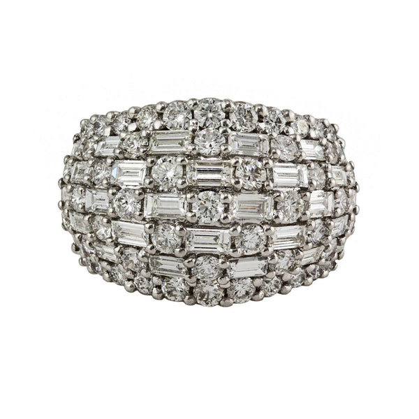 3.30tcw Baguette & Round Diamonds in 14K White Gold Anniversary Band Ring