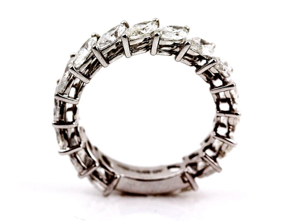4.08ct Floating Marquise Diamonds 18K White Gold Eternity Band Ring