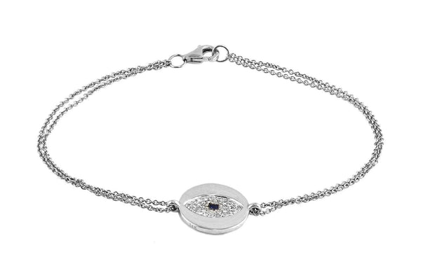 0.17tcw Pavé Diamonds & Sapphire in 14K Gold Evil Eye Charm Bracelet - 7""