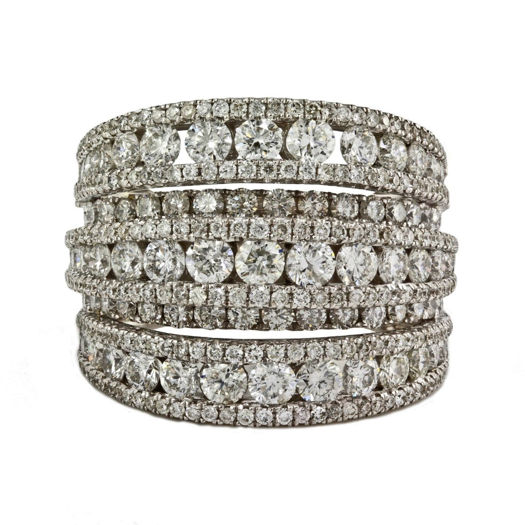 4.12ct Round Diamonds in 14K White Gold 5Rows Band Anniversary Ring