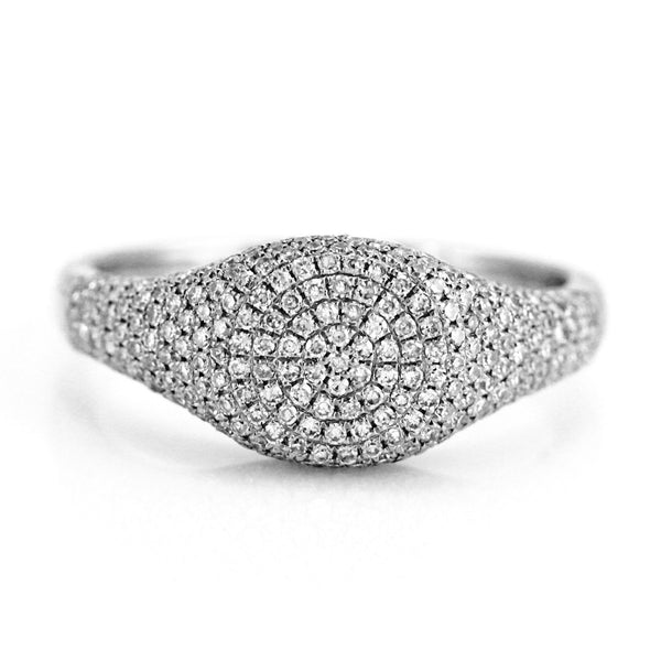0.58ct Pavé Round Diamonds in 14K Gold Signet Band Ring