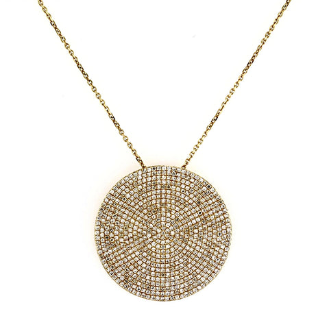 1.23ct Micro Pavé Round Diamonds in 14K Gold Round Diamonds Medium Disc Pendant Necklace