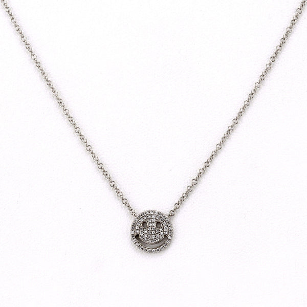 0.16ct Pavé Diamonds in 14K White Gold Smiley Face Pendant Necklace