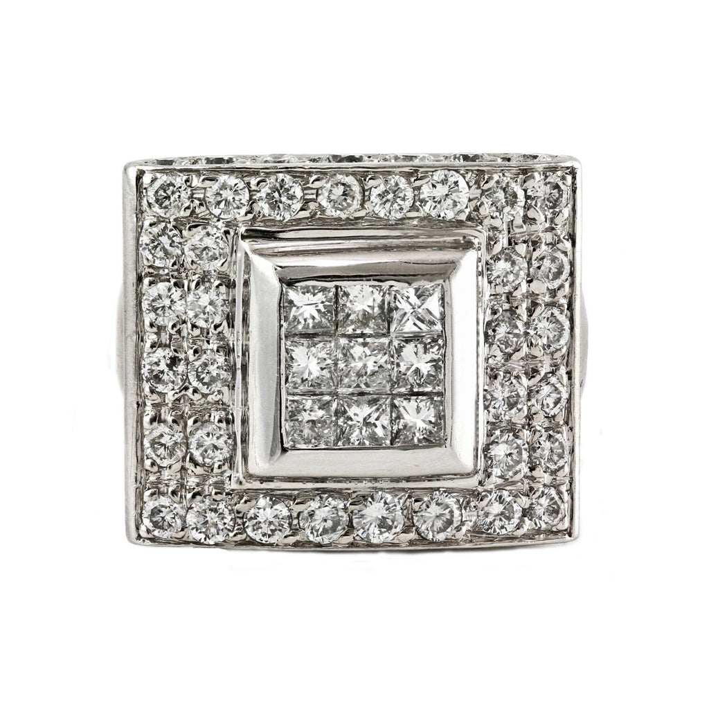 2.00tcw Princess & Round Diamonds in 14K White Gold Anniversary Cocktail Square Ring