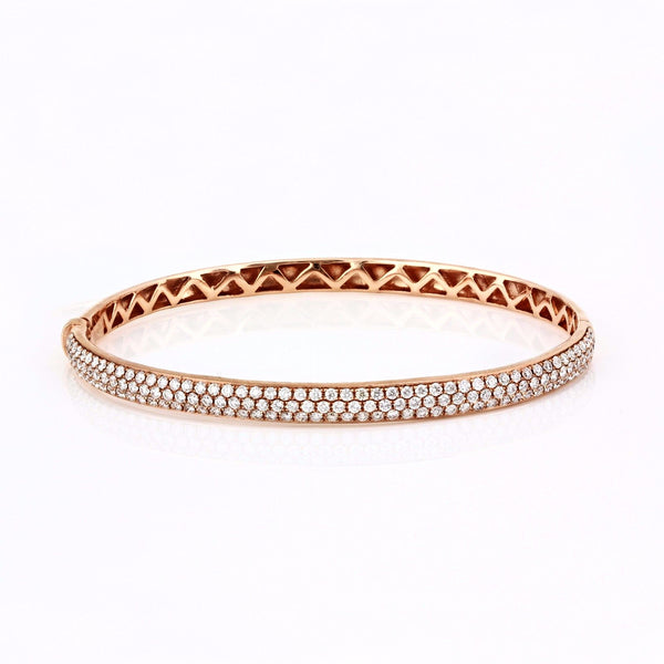 1.77ct Micro Pavé Diamonds in 14K Gold Semi Dome Bangle Bracelet - 6.5""
