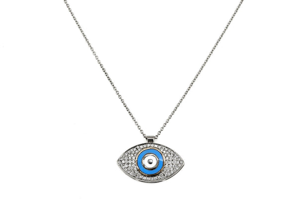 0.31ct Pavé Diamonds in 14K Gold Evil Eye Charm Pendant Necklace