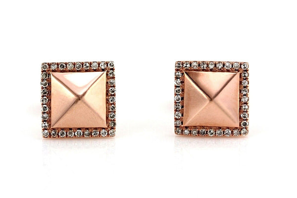 0.14ct Micro Pavé Round Diamonds in 14K Gold Square Pyramid Stud Earrings