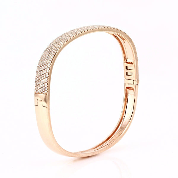 1.82ct Micro Pavé Diamonds in 14K Gold Semi-Oval Bangle Bracelet - 6.5""