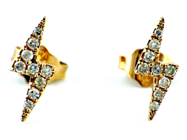 0.10ct Micro Pavé Round Diamonds in 14K Gold Lightning Bolt Stud Earrings