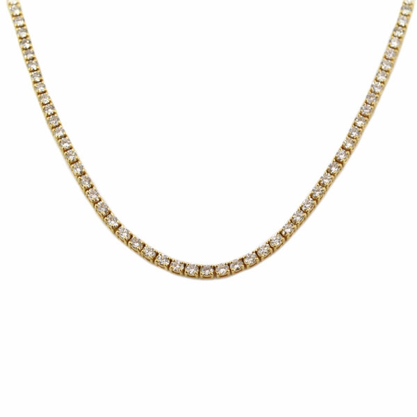 12.10tcw Round Diamonds in 18K Yellow Gold Tennis Necklace 16.5""