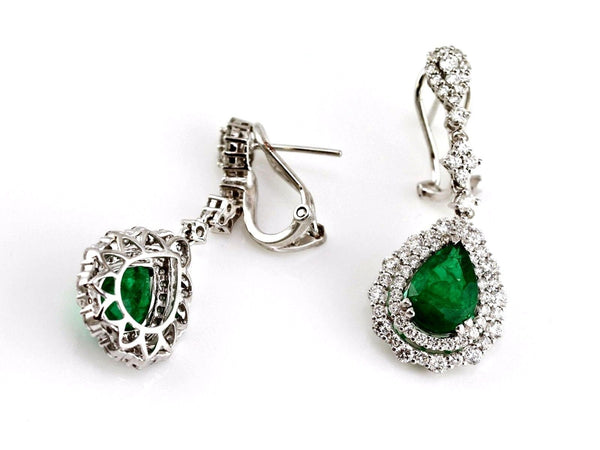 3.92ct Pear Shape Zambian Emerald with Diamonds 18K White Gold Dangle Earrings