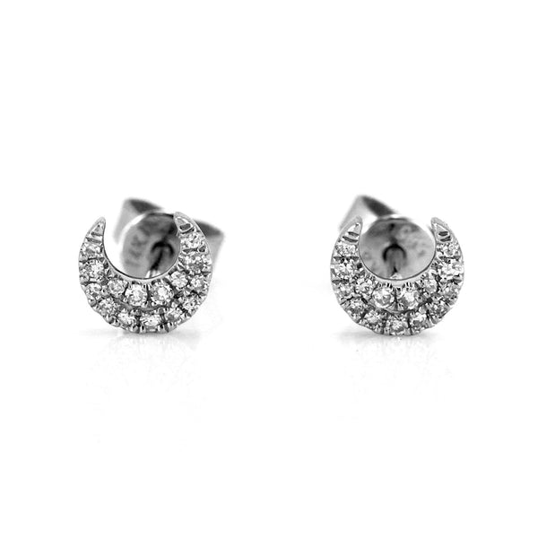 0.11ct Pavé Round Diamonds in 14K Gold Mini Crescent Moon Stud Earrings