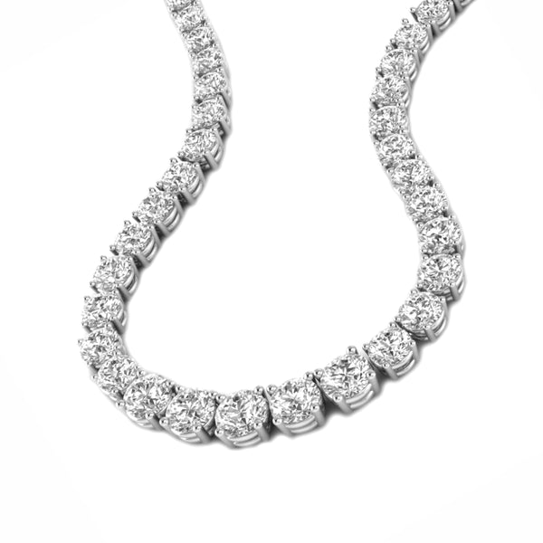 4.70tcw Graduated Round Diamonds in 18K White Gold Tennis Necklace 16.5""