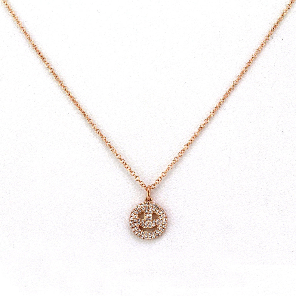 0.14ct Pavé Round Diamonds in 14K Gold Heart Eye Smiley Face Dangle Pendant Necklace