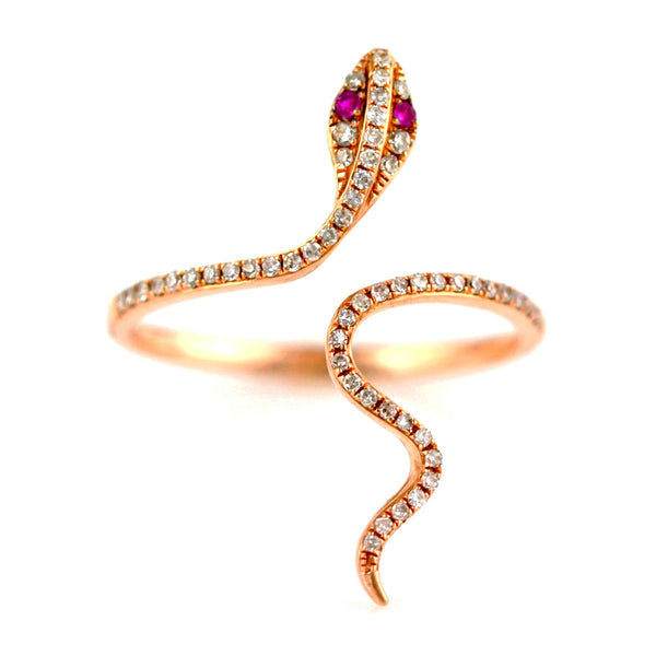 0.19ct Pavé Diamonds & Ruby in 14K Gold Snake of Slytherin Motif Ring