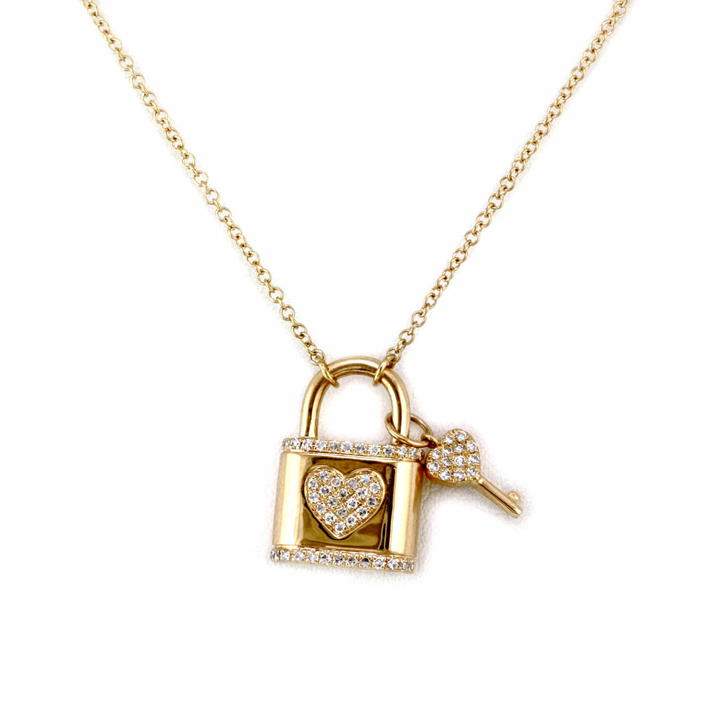 0.18ct Pavé Diamonds in 14K Yellow Gold Padlock & Key Pendant Necklace