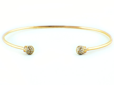 0.14ct Pavé Diamonds in 14K Gold Ball Skinny Cuff Bracelet - 6.5""
