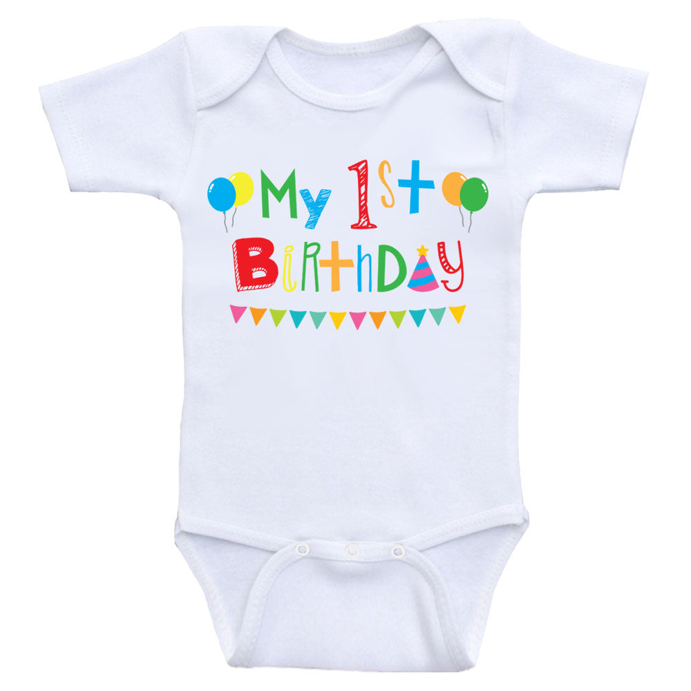 "First Birthday Baby Clothes ""My 1st Birthday"" Cute Birthday Baby Bodysuits"