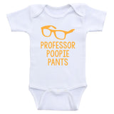 "Baby Boy Onesies ""Professor Poopie Pants"" Funny One-Piece Baby Boy Shirts"