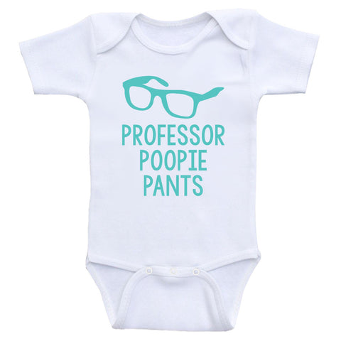 "Baby Boy Shirts ""Professor Poopie Pants"" Funny One-Piece Baby Clothes"