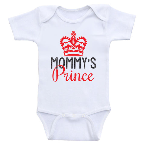 "Baby Boy Clothes ""Mommy's Prince"" Cute Baby Boy One Piece Onesies"