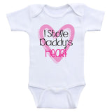 "Cute One-Piece Baby Girl Shirts ""I Stole Daddy's Heart"" Baby Girl Onesies"