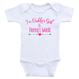 "Baby Girl Clothes ""I'm Daddy's Girl and Mommy's World"" Cute Baby Girl Bodysuits"