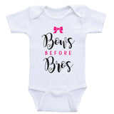 "Clothes For Baby Girls ""Bows Before Bros"" Funny Baby Girl Shirts"