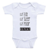 "Funny Clothes For Babies ""Eat, Sleep, Poop, Repeat"" Funny Baby Bodysuits"