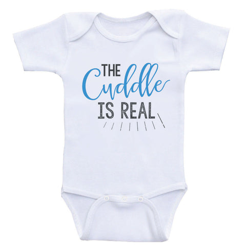 "Funny Baby One-Piece Shirts ""The Cuddle is Real"" Funny Newborn Baby Clothes"